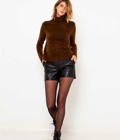 Pull col roulé maille femme