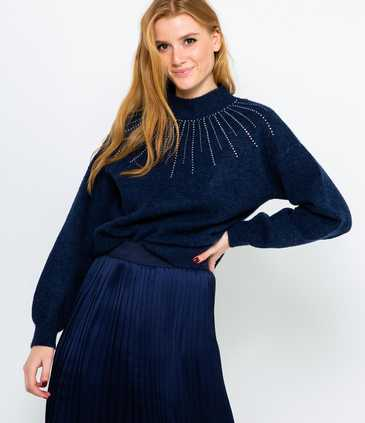 Pull col montant strass femme