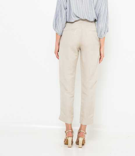 Pantalon cigarette lin viscose