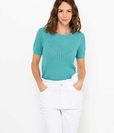 Pull manches courtes maille ajourée femme