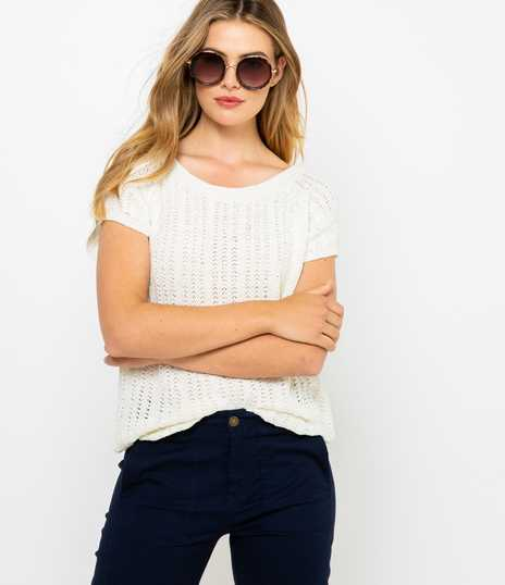 Pull manches courtes femme