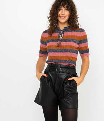 Pull femme rayures multicolores