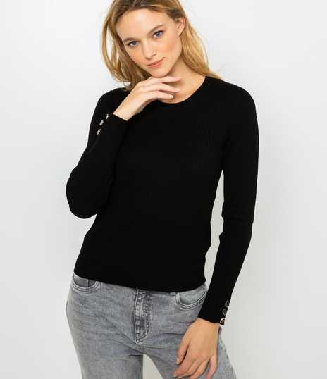 Pull femme col rond côtes plates