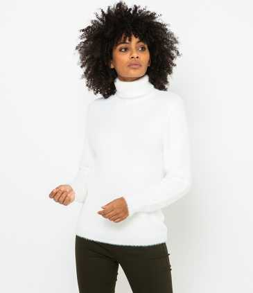 Pull col roulé femme maille shaggy