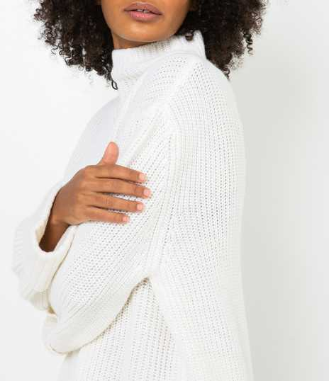 Pull femme col montant
