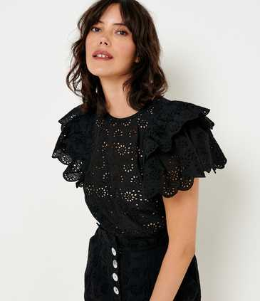 Blouse broderie anglaise volants