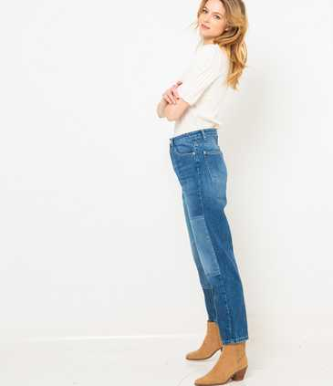 Jean femme mom patchs waterless process
