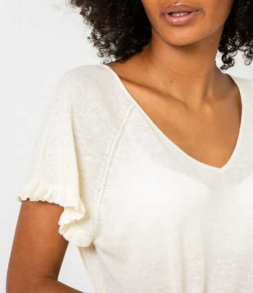 Pull femme lin-coton