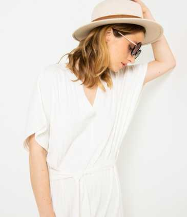 Robe blanche maille viscose responsable