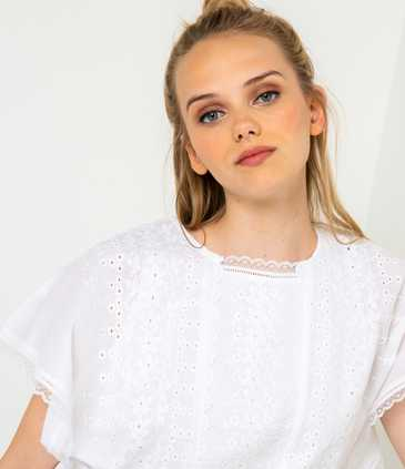 Blouse broderies femme