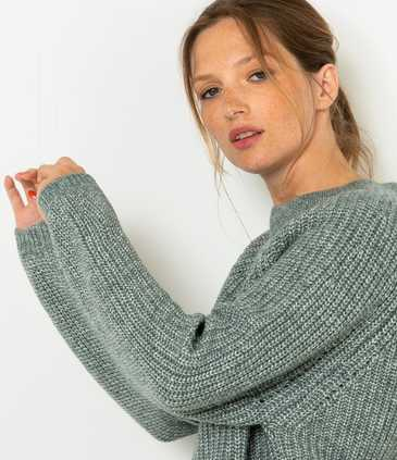 Pull grosse maille femme coton bio